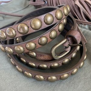 Accessories - Brown leather studded belt
